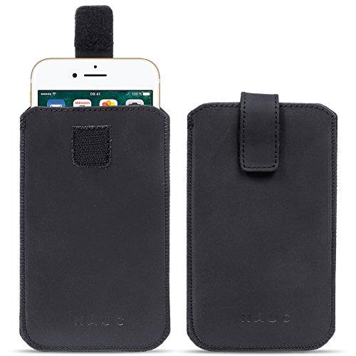 NAUC Universal Smartphone Leder Tasche Pull Tab Sleeve Hülle Schutzhülle Hülle Cover, Farben:Schwarz, Größe:Für 5.2-5.8 Zoll