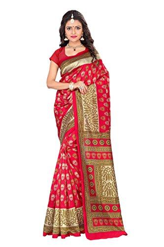 Jaanvi fashion - Sari - Floral - para mujer Rosso rojo con blusa cosida- 6.2 Mtr Aprox.