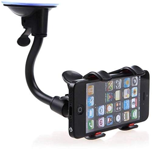 KETS Soft Tube Car Mobile Holder with Multi-Angle 360 Degree Rotating Clip for All Smart Phones with Strong Suction Cap Base for Car Windshield