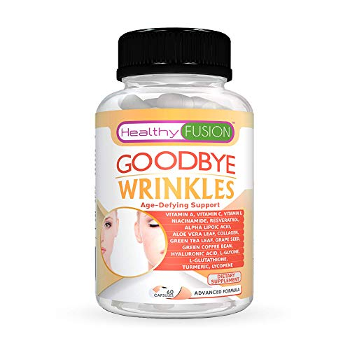 Goodbye Wrinkles – 100% Pure Hydrolized Collagen + Hyaluronic Acid + Alpha-Lipoic Acid + Resveratrol + Vit. E + Turmeric & More – Say Goodbye to Wrinkles – Reveal Hydrated Skin – Extra Strength – 60 C