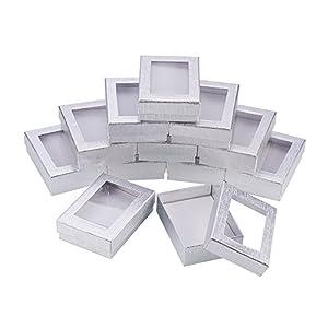 NBEADS Caja de Papel, 60 Paquetes de 9x6.5x2.8cm Rectángulo Caja de cartón de Plata con Ventana para Pulsera Collar Pendientes Exhibición de Joyas