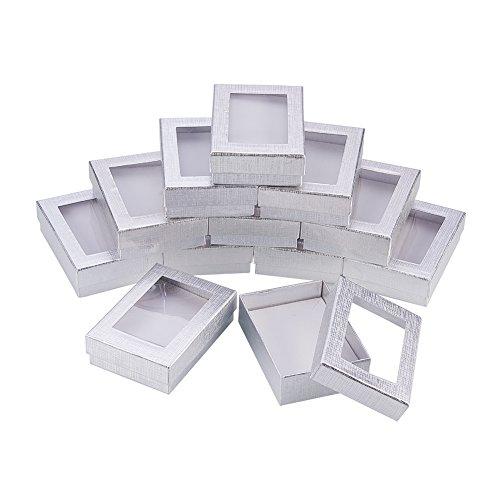 NBEADS Cajas de Joyería de Plata 60 Piezas, Caja de Ventana de Presentación para Exhibición de Anillo de Pendiente de Collar, 9x6.5x2.8 cm