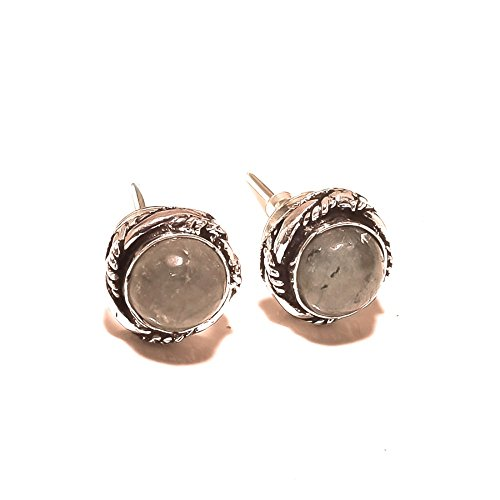 Gray RUTILE! Trendy STUD/EARRING For Girlfriend, New Arrival, Silver Plated! HANDMADE Jewelry Art! All Variety Store, 4 mm