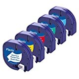 Aken Cintas de Etiquetas Compatible para usar en lugar de Dymo LetraTag Cinta Plástico 12mmx 4m Negro sobre Blanco/Rojo/Amarillo/Verde/ Azul, para Dymo Letratag LT-100H LT-100T LT-110T QX 50 XR XM