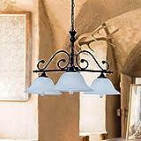 Landhaus Hängeleuchte mit Alabasterglas E27 Fassung Deckenlampe Landhausstil Innen