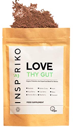 Organic Prebiotic Fibre Supplement for Women - with 9 Superfood Powders for Optimal Gut Health. Includes Fiber, Vitamins & Minerals for Natural Immune System Boost, Healthy Skin, Hair & Energy