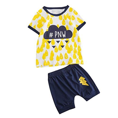 JUTOO 2 Stücke Set Neugeborenen Baby Jungen Mädchen Kurzarm Cartoon Tops Shirt + Druck Hosen Outfits Set (Gelb 2,130)
