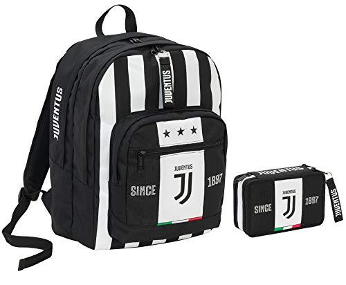 Zaino Big Plus JUVENTUS + Astuccio attrezzato - Bianco&Nero - Gadget abbinato! - Scuola e tempo libero