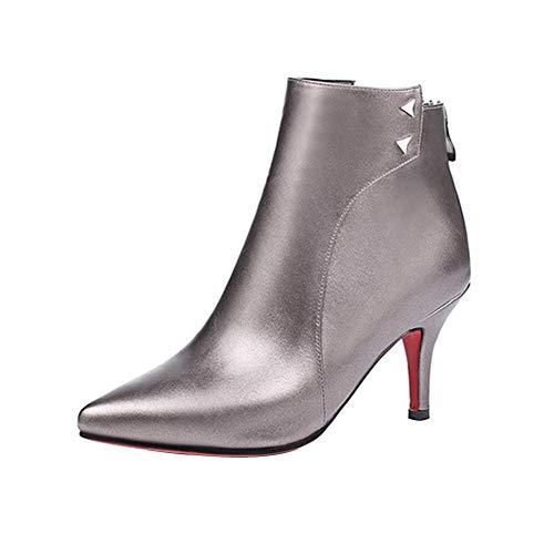 DAGE Frau Spitz Stilett Stiefeletten Mode Brachliegen Reißverschluss hinten Martin Stiefel Bankett Draussen Stiefel (Absatzhöhe: 6,5 cm),Brown,34