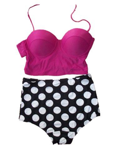 Ninimour Damen Bikini-Set, Gepunktet Rosa Hot Pink