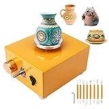 CABINA HOME Mini disco de alfarero eléctrico para niños, herramienta de moldeo de cerámica, máquina eléctrica de cerámica con tocadiscos de 6,5 cm y 10 cm
