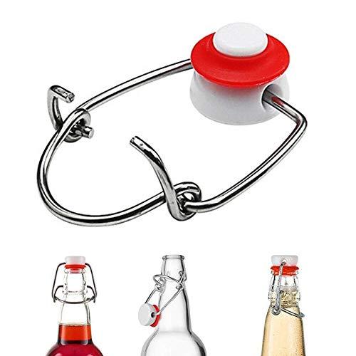 Kunyun 2pcs botella de vidrio cerrada tarro sellado con tapa Swing botella de cerveza enzima hebilla botella Swing tapón para botella de cerveza superior