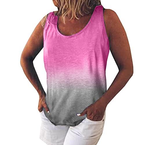 DOLAA Tops para Mujer Camiseta de algodón Blusa Superior Sexy Cuello Redondo Tie Dye Sin Mangas Blusa Informal Camisa Ajustada Camiseta Camisetas de Verano Chaleco sin Mangas Mujer Deportiva Chaleco
