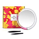 6 Inch 20X Magnifying Makeup Mirror with 3 Suction Cups & Slant/Tip Tweezers Set, Easy Mounting Travel Mirror Perfect for Precise Makeup Application, Eyebrow Tweezing, Blackhead Removal, etc.
