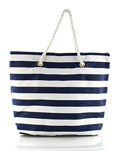 Große Strandtasche mit Reißverschluss 54 x 42 x 18 cm Maritime Streifen blau weiß Shopper Schultertasche Beach Bag Einkaufstasche Strandkorb Canvas Tasche Shopper Bag XXL Tasche