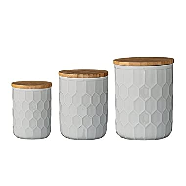 Bloomingville A21700001 Set of 3 White Stoneware Canisters with Bamboo Lids
