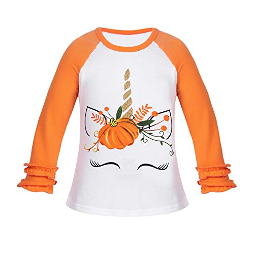 iiniim Blusa Manga Larga de Nia Tops Manga Larga Volantes Camisa Unicornios Causal Ropa de Invierno Cumpleaos Halloween Blusa Algodn Disfraz Unicornios Carnaval Cosplay Naranja 9-12 Meses