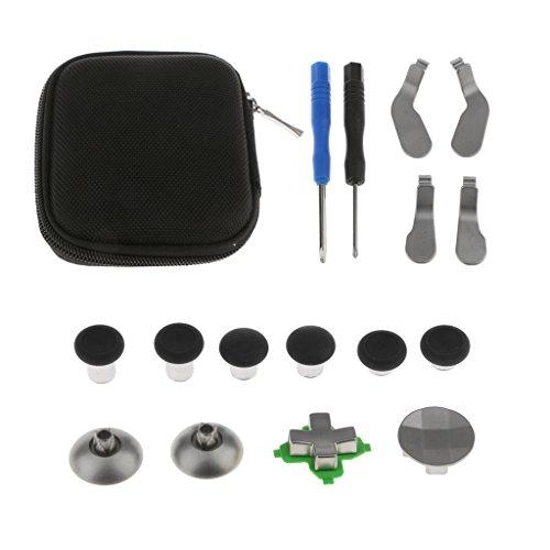 Homyl Conjunto Completo De Botões De Gatilho De Metal Para O Controlador XBOX One Elite C/Estojo - Preto