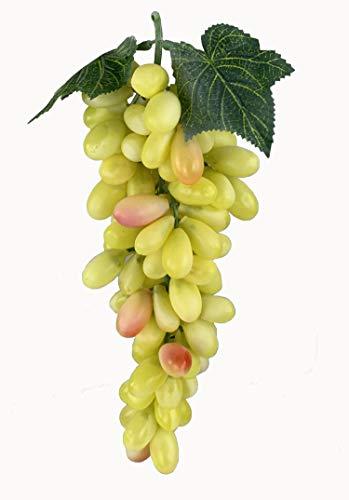 Deko Weintrauben Rispe Wein Trauben Kunstobst Kunstgemüse künstliches Obst Gemüse Dekoration (Gelb gemischt länglich, 30 cm)