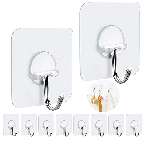 FOTYRIG Adhesive Wall Hooks Heavy Duty Wall Hangers Without Nails 15 pounds (Max) 180 Degree Rotating Seamless Scratch Hooks for Hanging Bathroom Kitchen Office-10 Packs