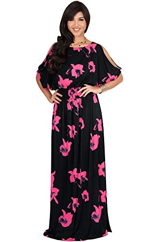 KOH KOH Plus Size Womens Long Short Sleeve Floral Print Summer Sexy Casual Sundress Boho Bohemian Split Flowy Cute Sundresses Sun Gown Gowns Maxi Dress Dresses, Black & Pink 3XL 22-24