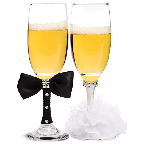 Copas de champán de cristal, novia y novio (juego de 2)