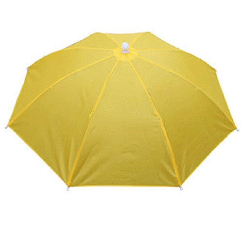 Vertvie Unisex Sonnenschirm Regenschirm Faltbar Neuheit Schirmmütze Outdoor Taschenschirm Baseball Kappe Wasserdichter Fischen Golf Kampieren Hut (Gelb, Größe:55cm)