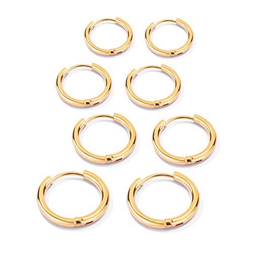 Juego de 4 pares de pendientes de aro de acero inoxidable para mujer, joyería de boda dorado