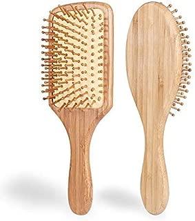 Hair Brush - ELVASEN 2 Pack Natural Wood Paddle Brush Detangling Scalp Bamboo Massage Hair Comb - Organic Wooden Bristle Cushion Hairbrush for Thick Curl Hair