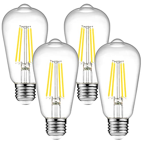 Dimmable Ascher Vintage LED Edison Bulbs, 6W, Equivalent 60W, Bright Daylight White 4000K, ST58 Antique LED Filament Bulbs, E26 Medium Base, Clear Glass, Pack of 4