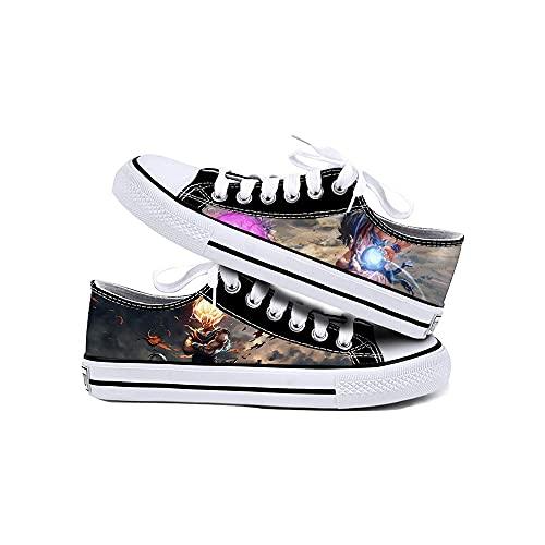 JPTYJ Cómic de Dibujos Animados Son Goku/Vegeta IV Zapatos de Lona Unisex Zapatillas Altas Zapatos con Cordones de Anime B-40
