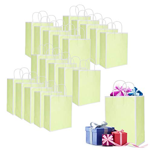 Eosnow 20 Piezas de Moda Bolsa de Papel Kraft Ropa Bolsa de Papel para Hacer Compras(Borde Verde Pasto sólido)