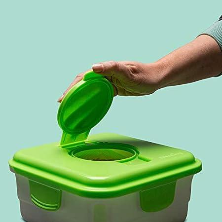 Cheeky Wipes Kit de lingettes r/éutilisables pour b/éb/é 25 lingettes lavables en tissu /éponge en bambou 15 x 15 cm avec bo/îte de trempage fra/îche bo/îte de trempage et solutions de trempage pour huiles e
