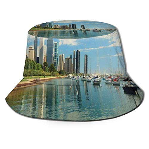 GULTMEE Unisex Fisherman Cap,Lake Michigan Scenery with A Yacht Downtown Chicago Skyline Panoramic Landscape,Travel Beach Hat