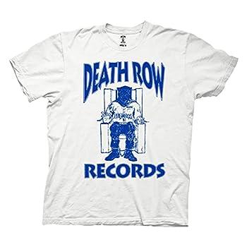 Ripple Junction Death Row Records Adult Unisex Blue Logo Light Weight Crew T-Shirt Medium White