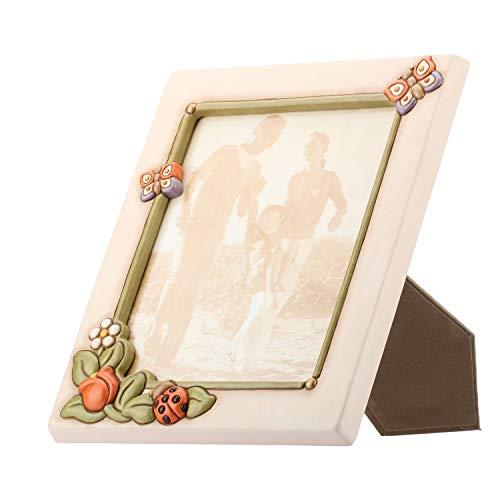 THUN - Portafoto Maxi con Farfalle, Fiori e Coccinella Colorata - Accessori per la Casa - Linea Country - Ceramica - Formato Foto 21x26 cm