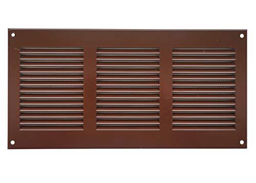 Ventilatierooster 300x100 mm bruin afsluitrooster bescherming tegen insecten afvoerlucht toevoerlucht rooster metaal, mr3010b