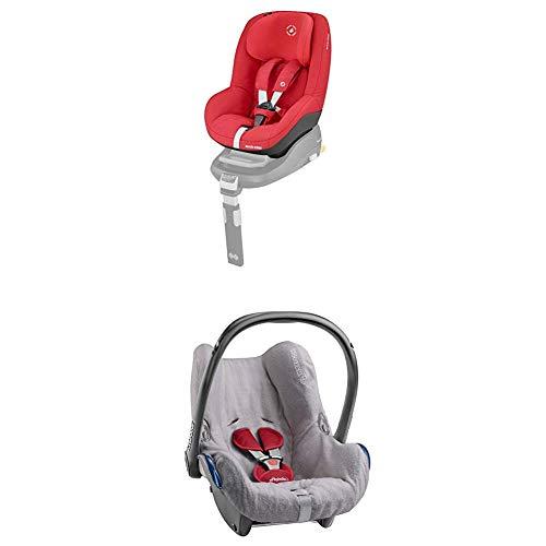 Maxi-Cosi Citi Babyschale, Gruppe 0+ (0-13kg), Black Diamond (schwarz) + Sommerbezug  für Babyschale CabrioFix, Citi und Citi SPS, cool grey