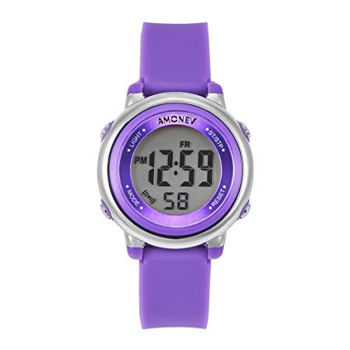 Relojes digitales para niños y niñas, este reloj digital para deportes al aire libre cuenta con cronómetro de alarma con 7 luces LED de fondo y es impermeable a 5 ATM, morado, Correa