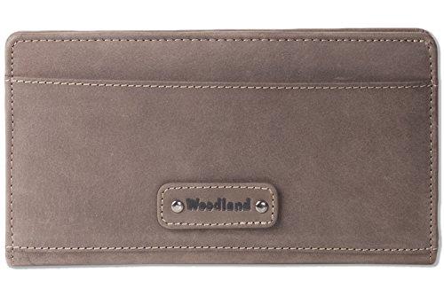 Woodland® Moderne Reise/Dokumententasche aus weichem, naturbelassenem Büffelleder in Dunkelbraun/Taupe
