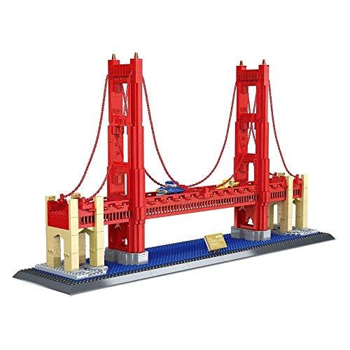 LKITYGF Perfekt Weltarchitektonisches Modell Golden Gate Bridge, Micro-Bohrer Kleiner Partikel Erwachsene Sammelspielzeug, Großmodell Bausteinsatz