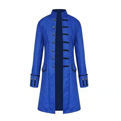 kenebo Steampunk-Mantel, Retro, Trenchcoat, Vintage-Stil, langärmelig, Gothic-Stil, Unterseite aus Brokat, Herbst Gr. Small, blau