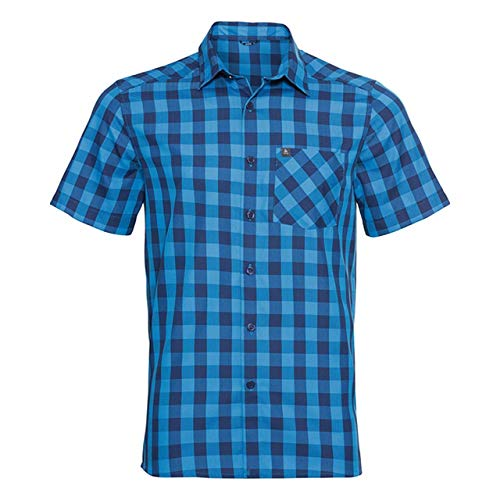Odlo Herren Mythen Kurzarm-Hemd, Blue Aster - Estate Blue - Check, XL