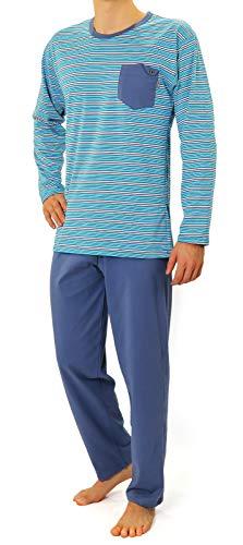 Sesto Senso Herren Schlafanzug Lang Pyjama 100% Baumwolle Langarm Shirt mit Tasche Pyjamahose Zweiteilig Set Nachtwäsche Himmelblau Gestreift Blau XXL 02 K67ZC