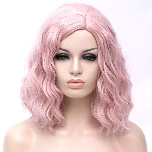 TANTAKO® Kurze Bob Wellige Perücke für Frauen Damen Synthetische Volle Haar Perücken für Halloween Cosplay Kostüm (Licht Rosa)