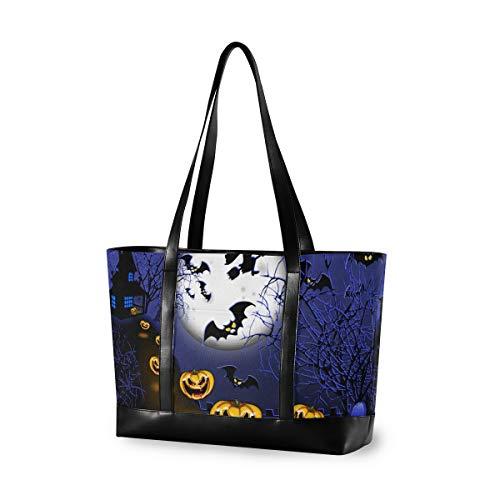 Große Laptop-Tragetasche für Damen, Halloween-Jack-Laterne, Hexe, Segeltuch, Schultertasche für 39,6 cm (15,6 Zoll) Computer-Handtasche für Reisen