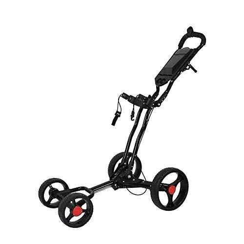 HLR Golftrolley Zieh Golfcarts Golf Cart, 4-Rad-Golf Cart Swivel Faltbare Push-Pull-Handwagen mit Handbremse und Schirmständer for Outdoor-Reisen Sport Fitnesstraining
