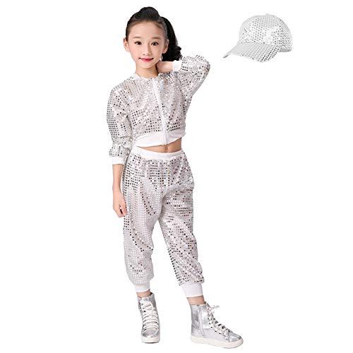Kinder Mädchen Pailletten Hip Hop Kostüm Street Dance Kleidung gesetzt (146/152, Silber)