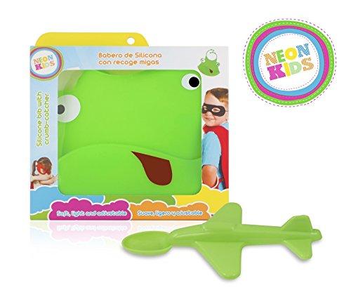 Neon Kids Pack: Baby-Silikon-Lätzchen + Flugzeug-Löffel, Grün
