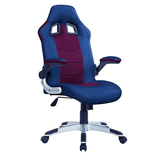 Adec - Silla Oficina giratoria, Sillon para despacho, Estudio o Escritorio, Modelo Gamer (Azul y Granate)